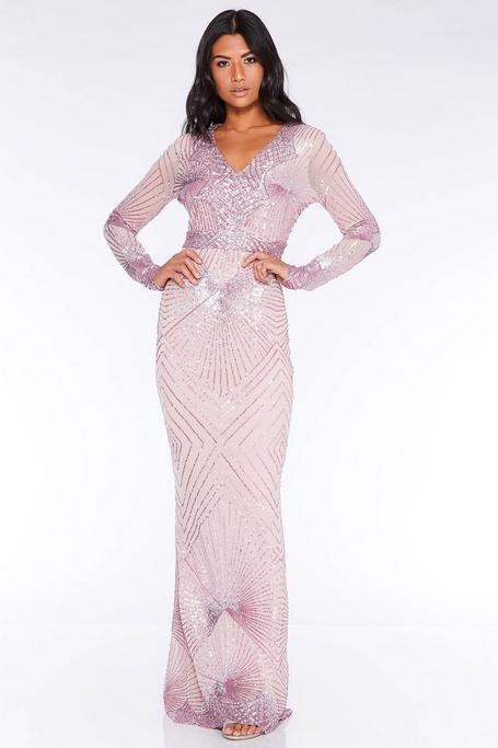 Vestido Largo Rosa de Corte Sirena con Lentejuelas