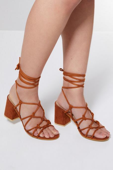 Sandalias de Tacón Tostadas de Estilo Gladiador
