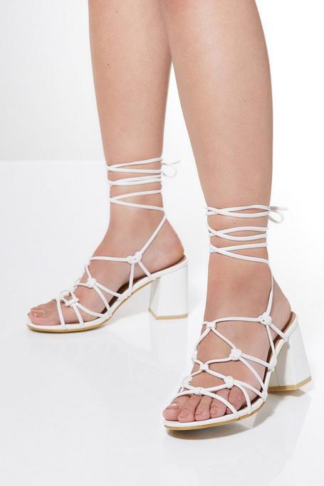 Sandalias de Tacón Blancas Estilo Gladiador