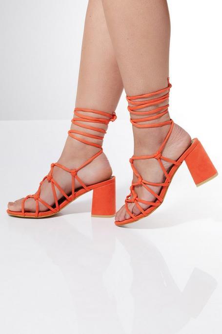 Sandalias de Tacón Naranjas de Estilo Gladiador