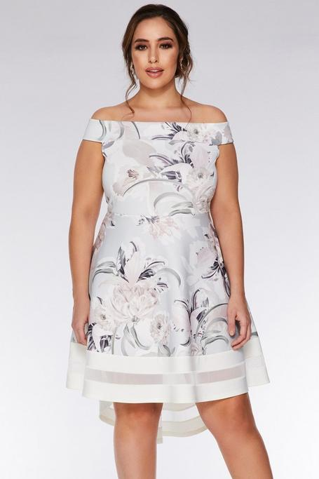 Plus Size Gray and Pink Floral Off The Shoulder Dress