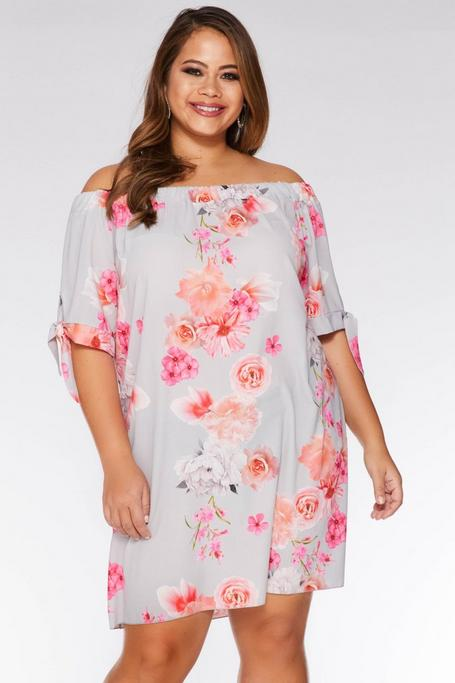 Plus Size Gray and Coral Floral Off The Shoulder Tunic Dress