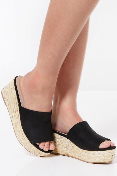 Sandalias Negras de Cuña Estilo Alpargata
