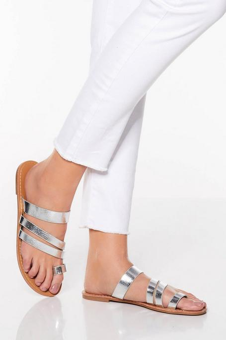 Silver Toe Ring Strappy Sandals