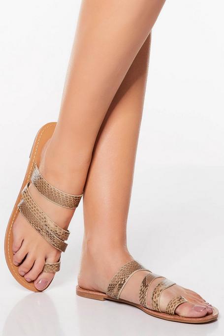 Sandalias Planas de Estampado de Serpiente