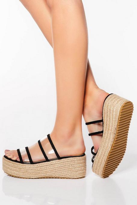 Sandalias de Cuña con Tiras Negras y Transparentes