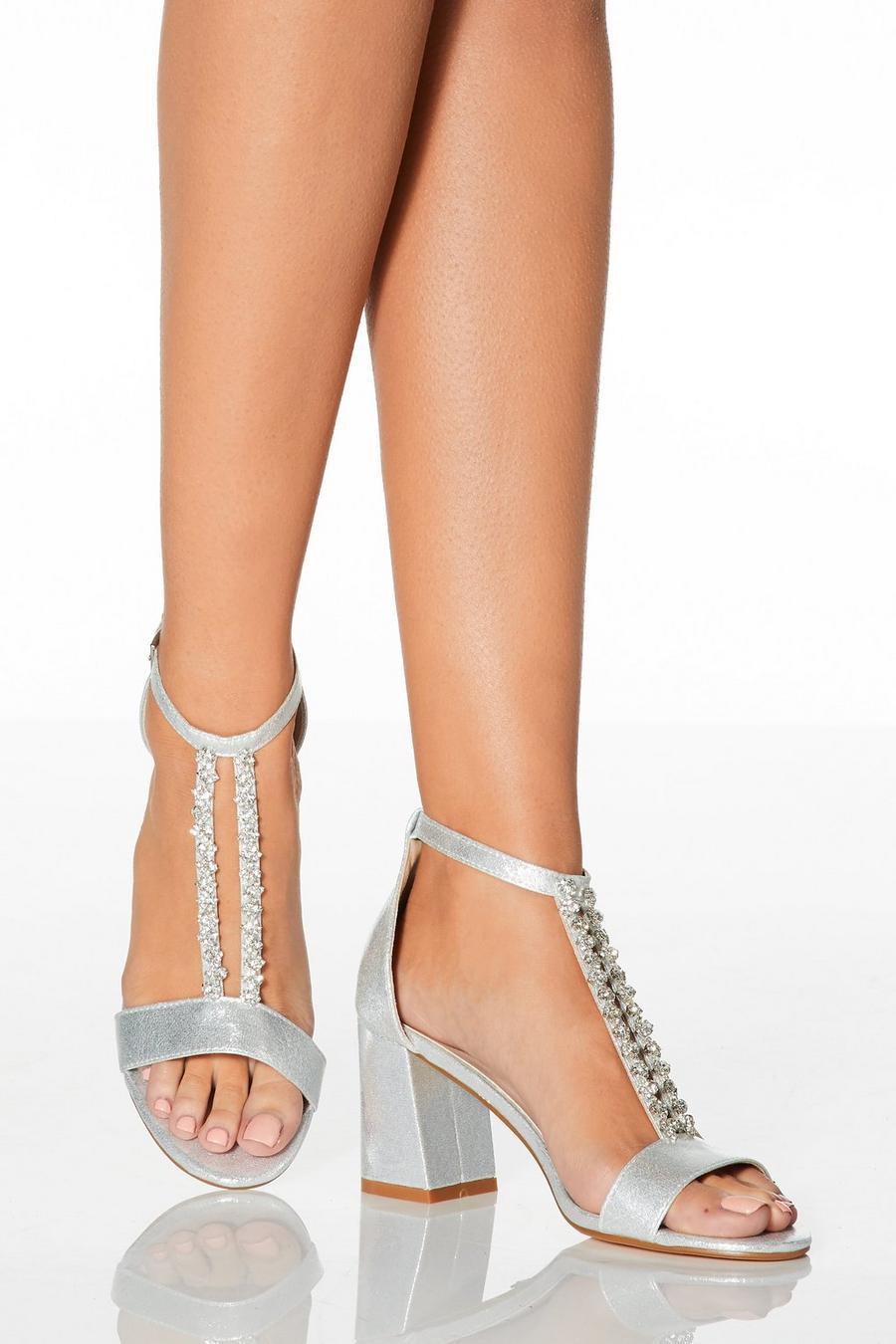 59777d2b818 Bridal Silver Diamante T-Bar Heeled Sandals - Quiz Clothing