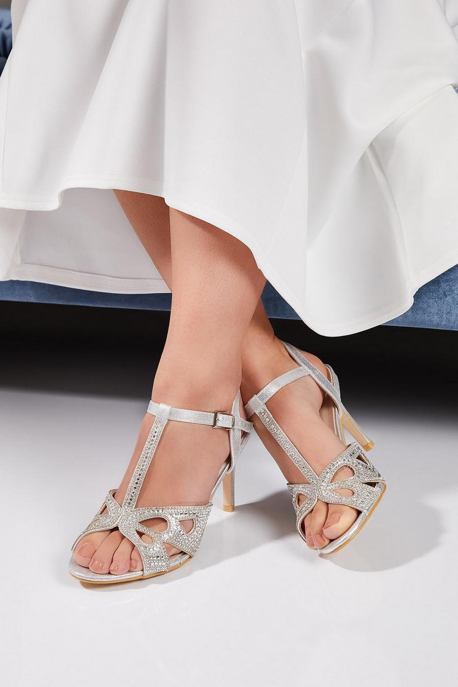 ddb33510eb7 Bridal Silver Diamante T-Bar Heeled Sandals