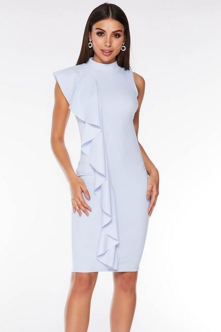 Pale Blue Crepe High Neck Ruffle Midi Dress