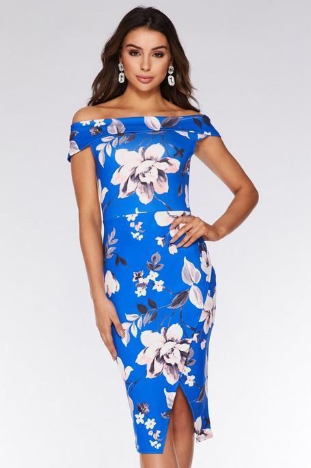 Royal Blue And Pink Off The Shoulder Floral Midi Dress