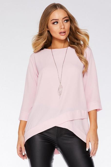 Pink Crossover Necklace Top