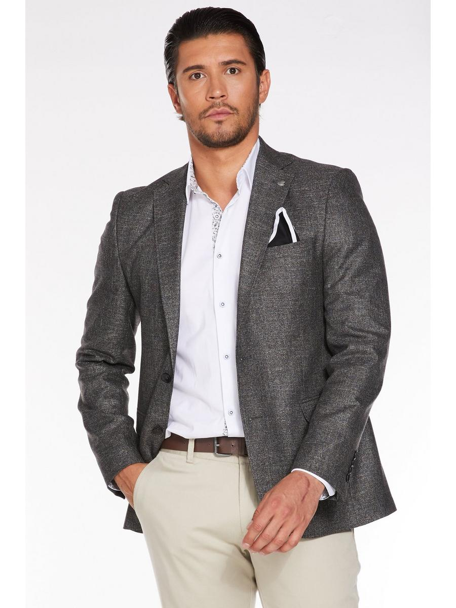 MID GREY PLAIN TEXTURED BLAZER