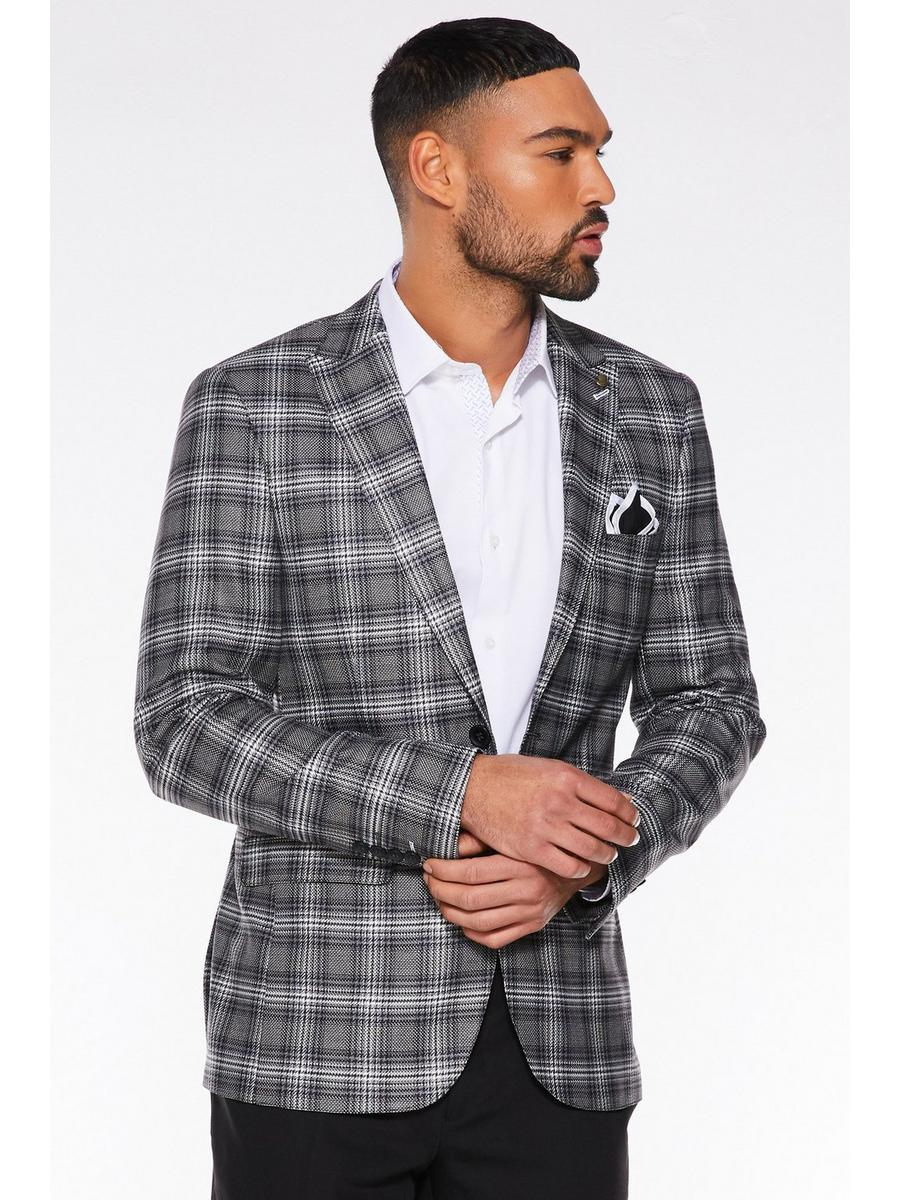 BLACK/WHITE CHECK PATTERN BLAZER