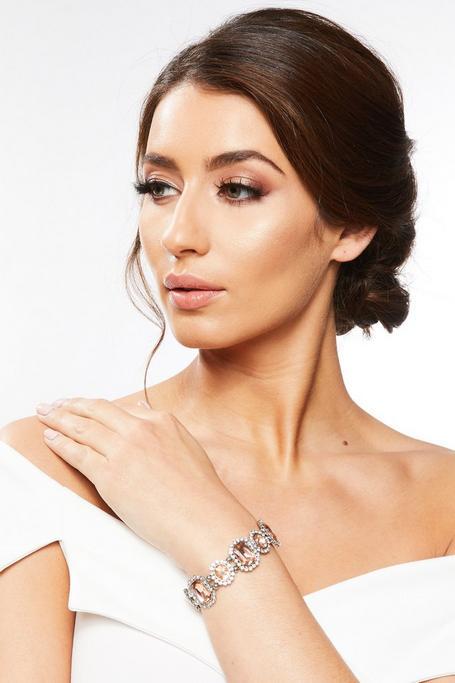 Silver Rose Gold Diamante Bracelet