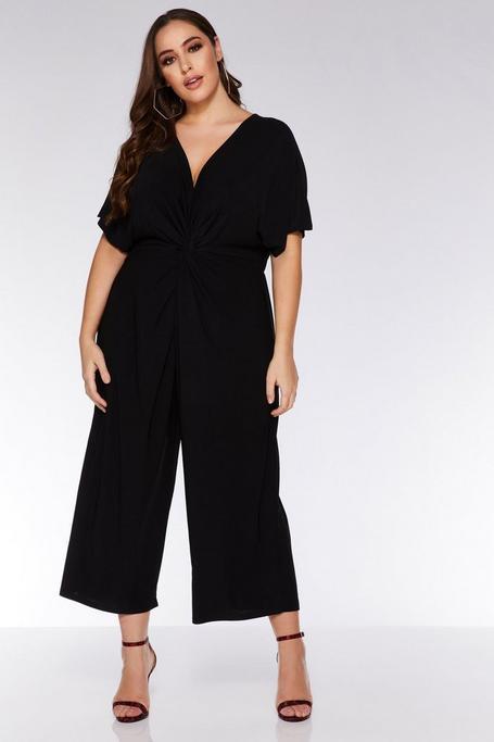 Plus Size Black Knot Front Batwing Jumpsuit