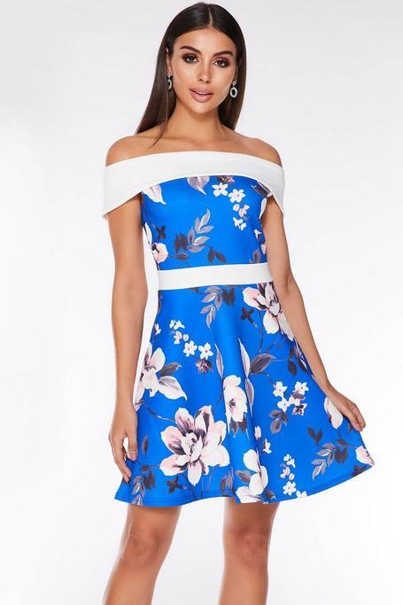 Royal Blue Cream And Pink Floral Off The Shoulder Skater Dress