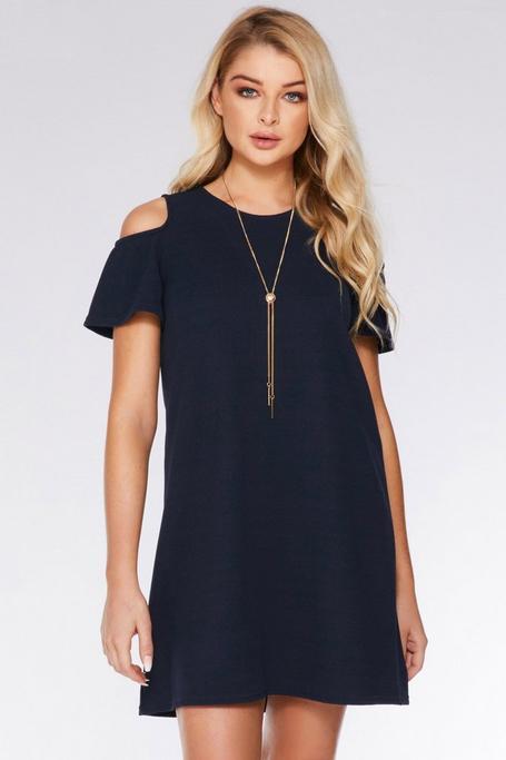 Navy Cold Shoulder Shift Necklace Dress