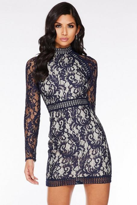 Navy and Nude Lace Mini Dress