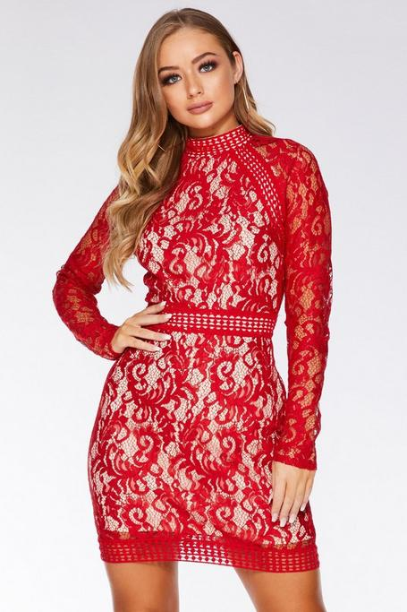 Red and Nude Lace Mini Dress
