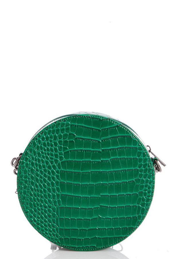 Bolso Circular Verde de Efecto Cocodrilo