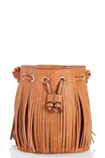 Tan Fringe Tassel Bucket Bag
