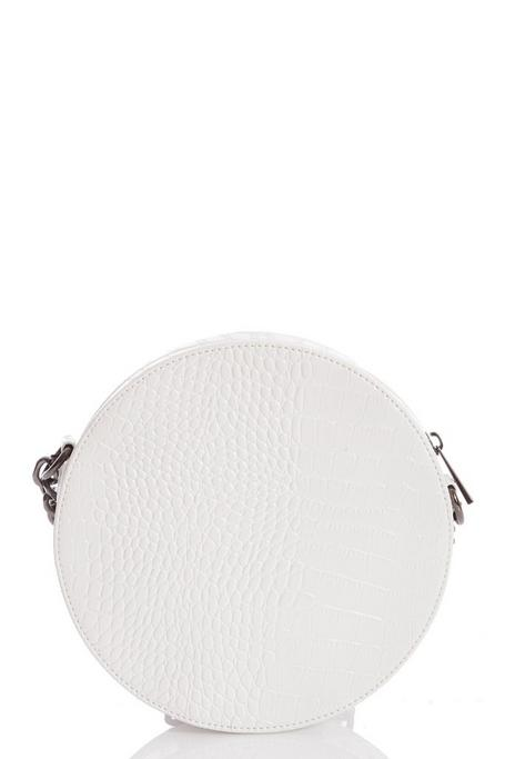 Bolso Circular Blanco de Efecto Cocodrilo