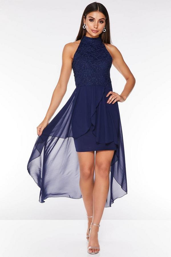 Vestido Azul Marino con Purpurina y Capa de Gasa