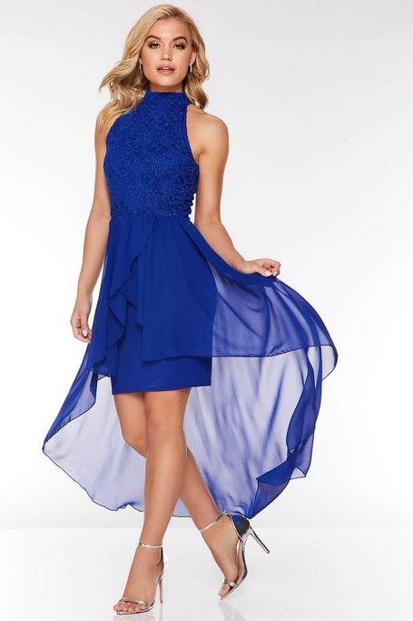 Royal Blue Glitter Lace Chiffon Dip Hem Dress