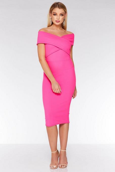 Hot Pink Off The Shoulder Midi Dress