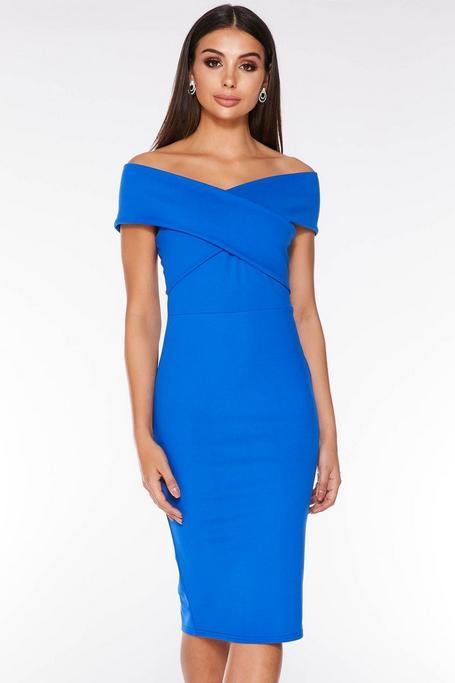 Royal Blue Off The Shoulder Wrap Midi Dress