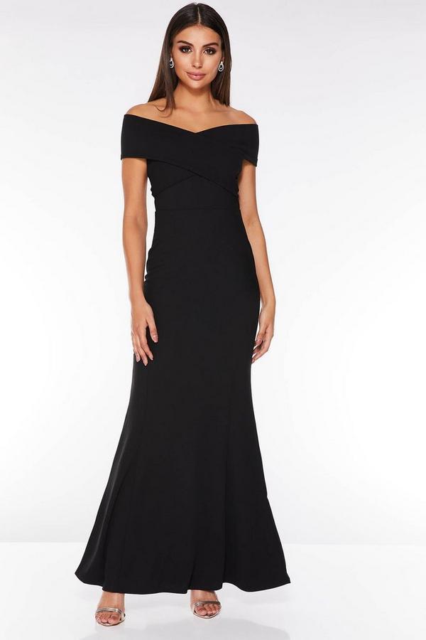 Vestido Largo Negro de Corte Sirena con Escote Bardot