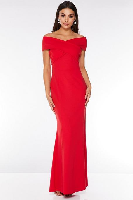 Red Off The Shoulder Wrap Front Maxi Dress