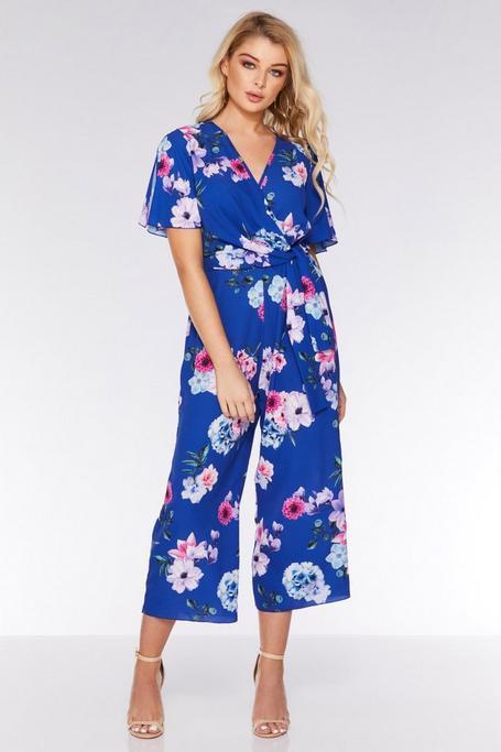 Mono Culotte Azul Real con Estampado Floral