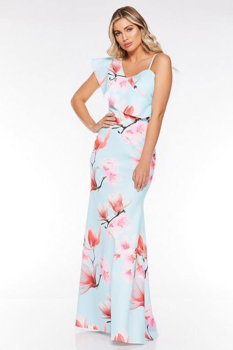 Blue And Pink Floral One Shoulder Maxi Dress