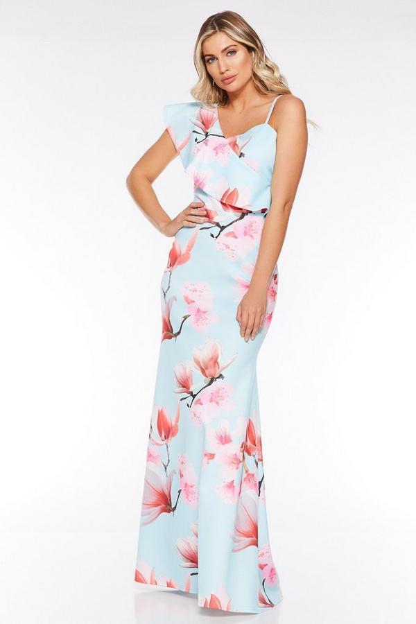 Vestido Largo Azul y Rosa con Estampado Floral