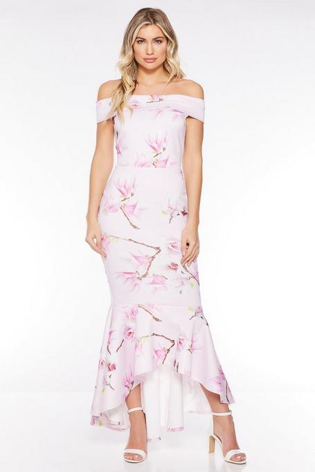 Pink and Lilac Floral Off The Shoulder Frill Hem Midi Dress