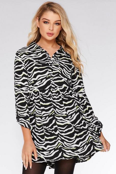 Black White and Lime Zebra Print Shirt Dress