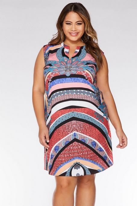 Curve Multicoloured Abstract Tunic Dress