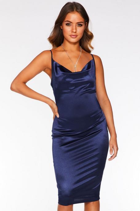 Vestido Midi Azul Marino con Tirantes Finos