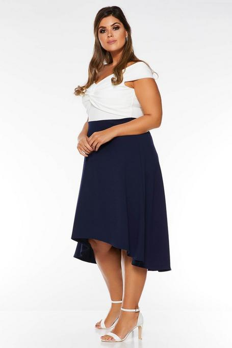 Plus Size Navy And Cream Off The Shoulder Dip Hem Dress