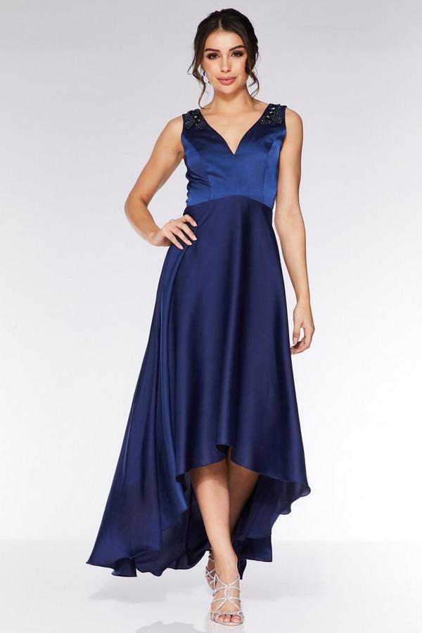 Vestido Azul Marino Satinado de Bajo Asimétrico