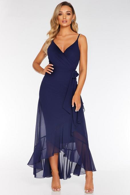 Vestido Largo de Gasa Azul Marino Asimétrico