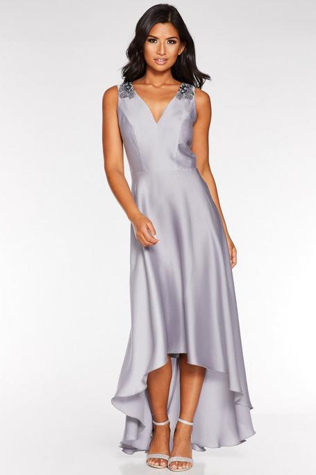 Gray Satin Embellished Dip Hem Dress