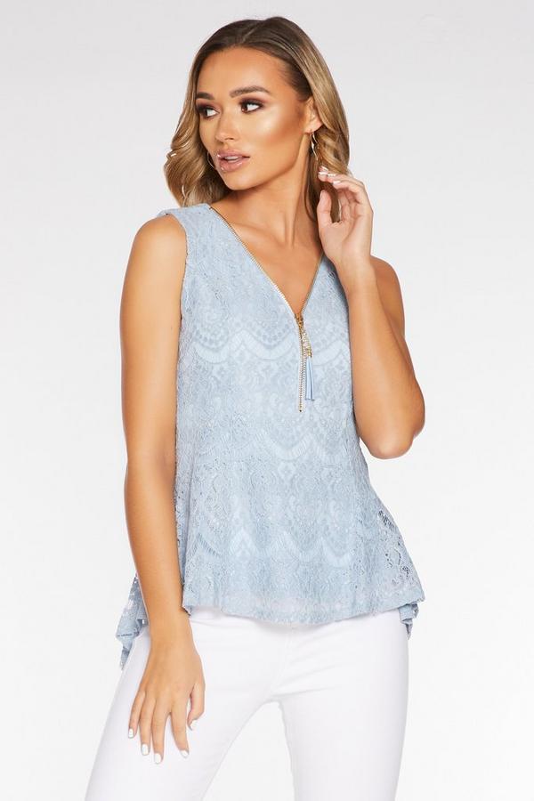 Pale Blue Lace Zip Sleeveless Dip Hem Top