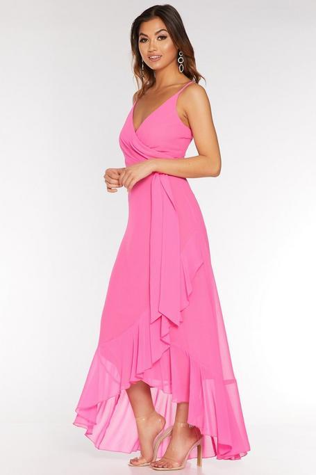Hot Pink Chiffon Wrap Frill Dip Hem Dress