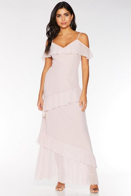 Blush Pink Cold Shoulder Maxi Dress