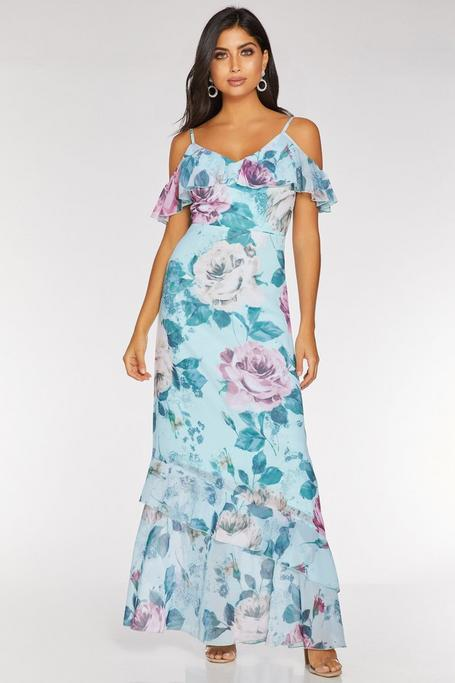 Aqua and Pink Floral Cold Shoulder Maxi Dress
