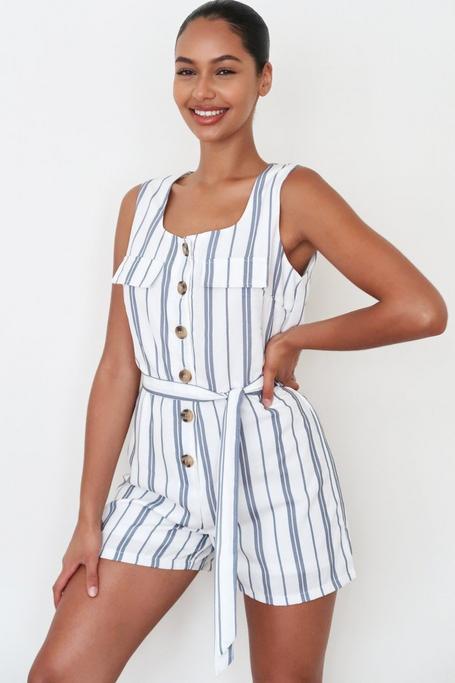 White And Navy Linen Stripe Romper