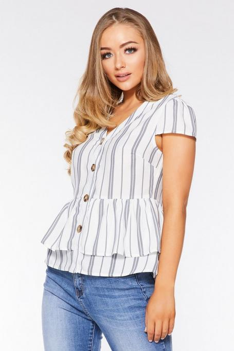 White and Navy Linen Stripe Peplum Top