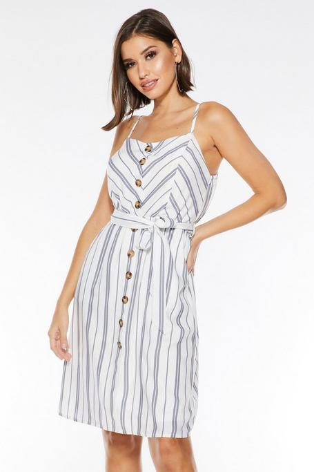 White And Navy Stripe Midi Dress
